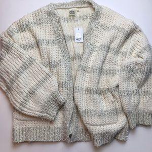 Sweaters - Chenille Confetti Cream + Silver Striped Cardigan